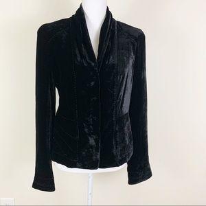 TAHARI 6 Velvet Silk Snap Close Blazer